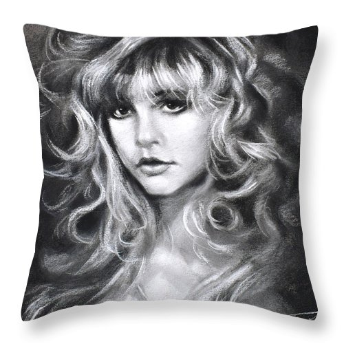 Stevie Nicks Throw Pillow featuring the drawing Stevie Nicks by Ylli Haruni