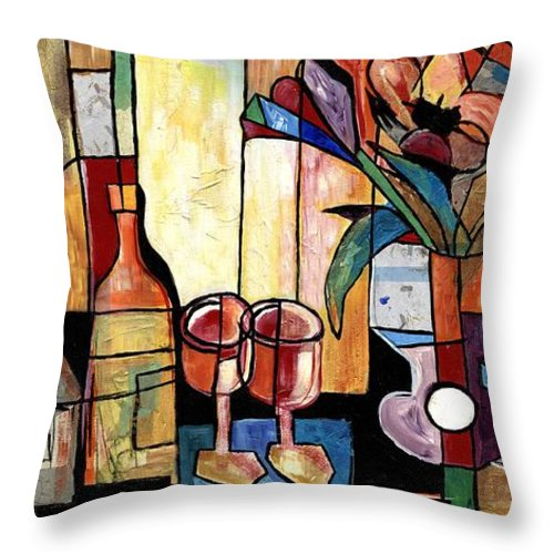 Everett Spruill Throw Pillow featuring the painting Still Life with Wine and Flowers for two take 2 by Everett Spruill