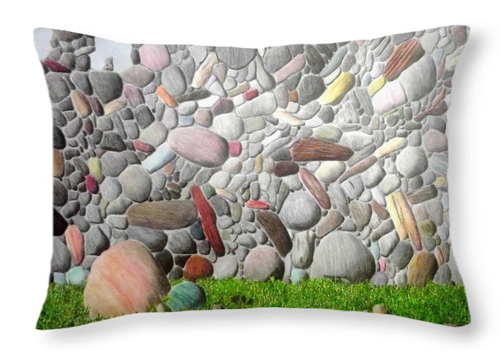 Stones Throw Pillow featuring the painting Stoned Wall by A Robert Malcom