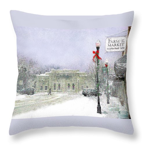 Snow Scene Throw Pillow featuring the photograph Strang Car Barn in Winter by Steve Karol