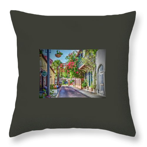 St. Augustine Throw Pillow featuring the photograph Street of St. Augustine by Debbi Granruth