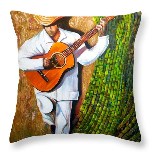 Cuban Art Throw Pillow featuring the painting Sugarcane Worker by Jose Manuel Abraham