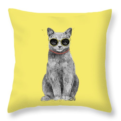 Cat Throw Pillow featuring the drawing Summer Cat by Balazs Solti