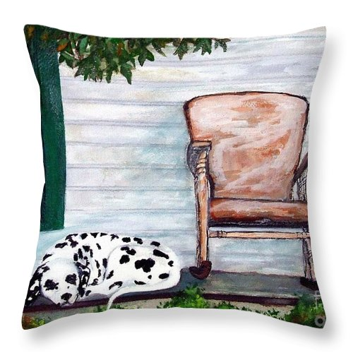 Dog Throw Pillow featuring the painting Summer Evening by Jacki McGovern