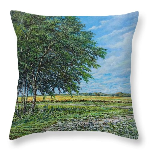 Landscape Throw Pillow featuring the painting Summer Field by Sinisa Saratlic