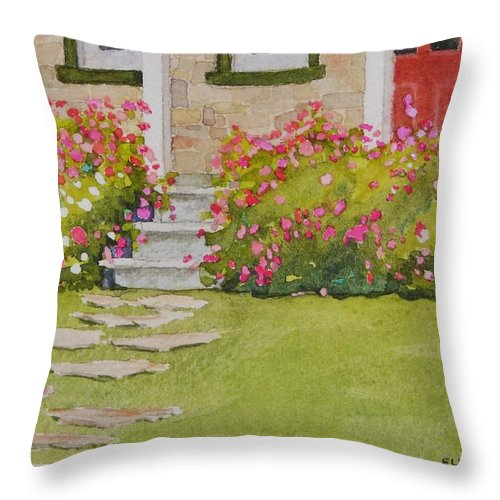 Garden Throw Pillow featuring the painting Summer Glory by Mary Ellen Mueller Legault