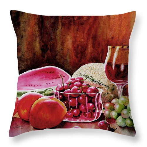 Wine Throw Pillow featuring the painting Summer Syrah by Karen Stark
