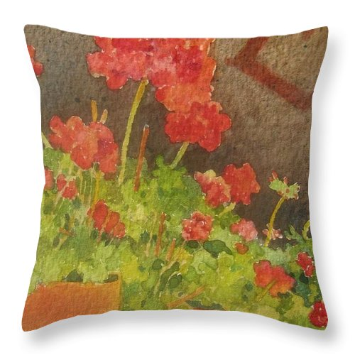 Geraniums Throw Pillow featuring the painting Summers End by Mary Ellen Mueller Legault
