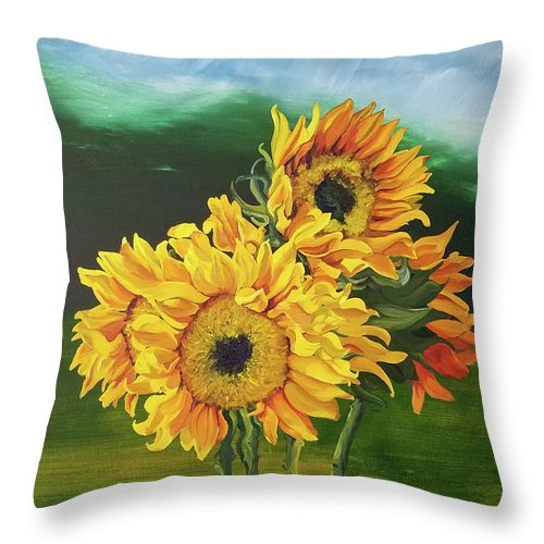 Sunflowers Throw Pillow featuring the painting Sunflowers For Tati by Brittany Bert Selfe