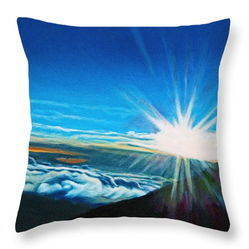 Hawaii Throw Pillow featuring the painting Sunrise on Haleakala by Donna Proctor