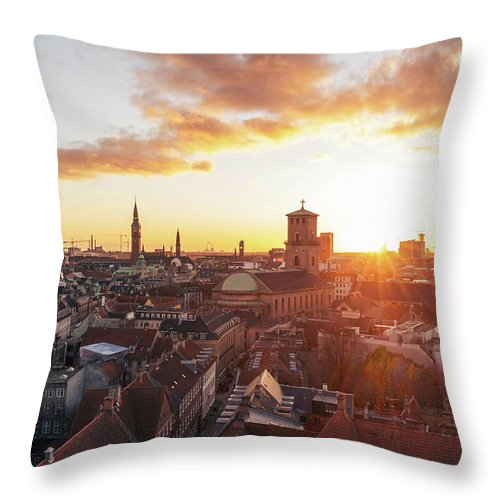 City Throw Pillow featuring the photograph Sunset above Copenhagen by Hannes Roeckel