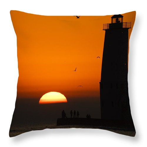 3scape Throw Pillow featuring the photograph Sunset at Frankfort North Breakwater Lighthouse by Adam Romanowicz