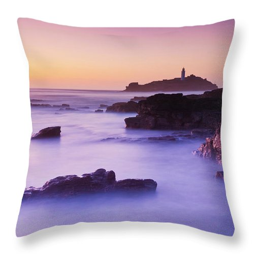 Godrevy Lighthouse Cornwall Throw Pillow featuring the photograph Sunset At Godrevy Lighthouse, Cornwall, England by Neale And Judith Clark