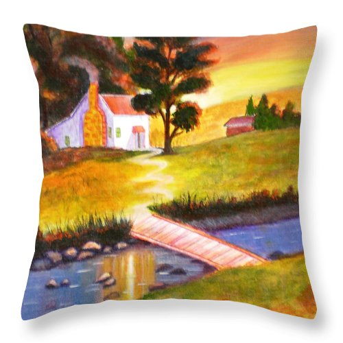 Sunset Acrylic Painting Art Cottage Trees Water Green Orange Red Sky Bridge Rocks Pebbles Yellow House Bushes Throw Pillow featuring the painting Sunset Cottage by Manjiri Kanvinde