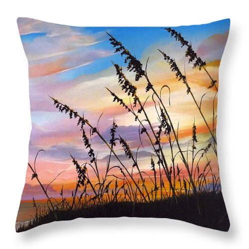 Ocean Painting Throw Pillow featuring the painting Sunset Fort Desoto Beach by Karin Dawn Kelshall- Best