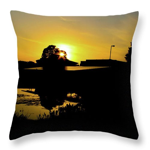 Landscape Throw Pillow featuring the digital art Sunset over Building by Daniel Cornell