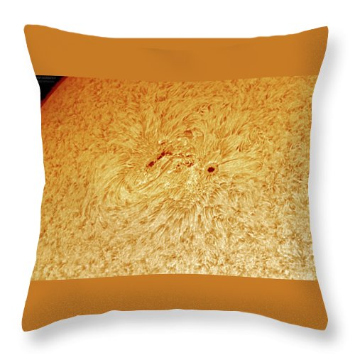 Sunspots Throw Pillow featuring the photograph Sunspot AR 2781 by Prabhu Astrophotography