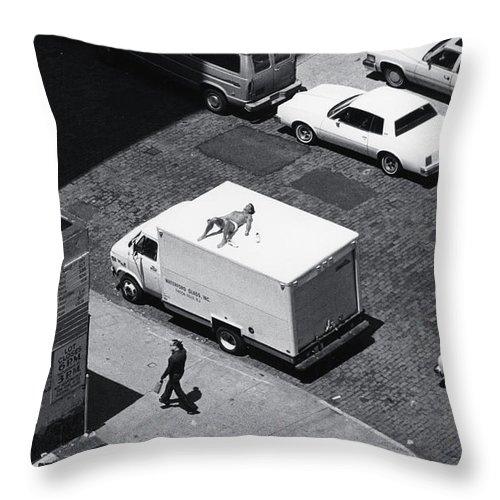 Urban Throw Pillow featuring the photograph Suntan break NYC by Steven Huszar