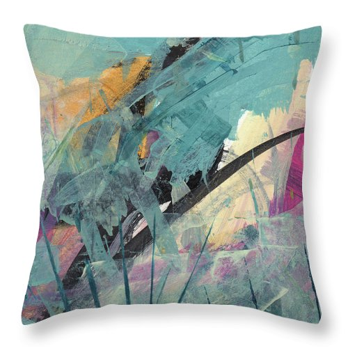Abstract Throw Pillow featuring the painting Surface 14 by Ann Thompson Nemcosky