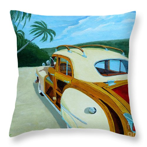 Woody Throw Pillow featuring the painting Beach Woody by Anthony Dunphy