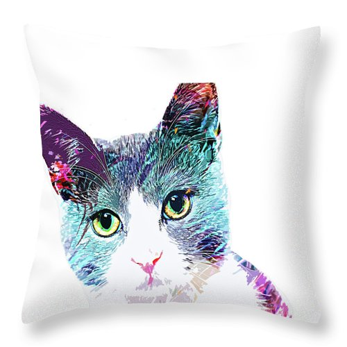 Cat Throw Pillow featuring the digital art Sweet Cat Lady by Trindira A