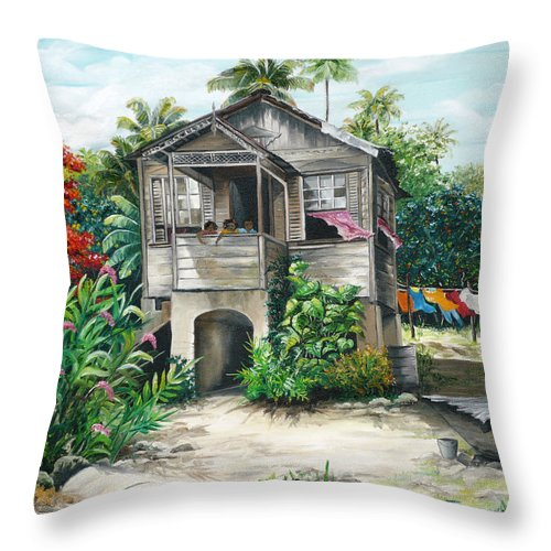 Landscape Painting Caribbean Painting House Painting Tobago Painting Trinidad Painting Tropical Painting Flamboyant Painting Banana Painting Trees Painting Original Painting Of Typical Country House In Trinidad And Tobago Throw Pillow featuring the painting Sweet Island Life by Karin Dawn Kelshall- Best