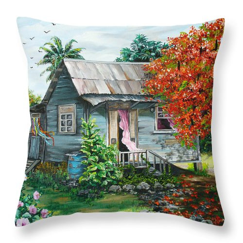 Caribbean Painting Original Painting Trinidad And Tobago ..house Painting Flamboyant Tree Painting Red Blossoms Painting Floral Painting Tree Painting Tropical Painting Throw Pillow featuring the painting Sweet Tobago Life. 2 by Karin Dawn Kelshall- Best