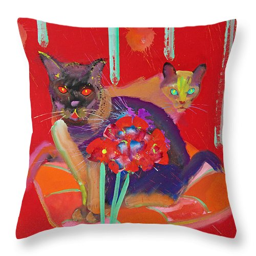 Burmese Cat Throw Pillow featuring the painting Symphony In Red Two by Charles Stuart