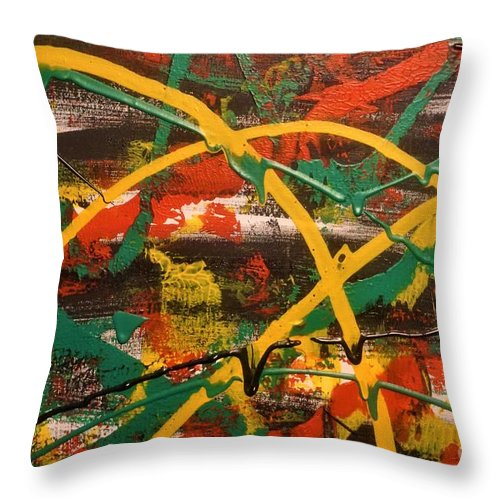 Acrylic Throw Pillow featuring the painting Synergy by Jimmy Clark