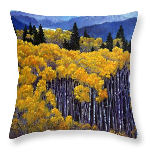 Snow Clouds Over Rocky Mountains Throw Pillow featuring the painting Tall Aspens by John Lautermilch