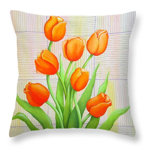 Tulips Throw Pillow featuring the painting Tangerine Tulips by Carol Sabo