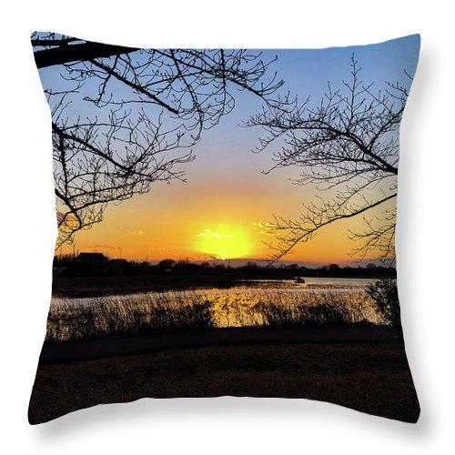 Sunset Throw Pillow featuring the photograph Tatebayashi Sunset by Kiyoto Matsumoto