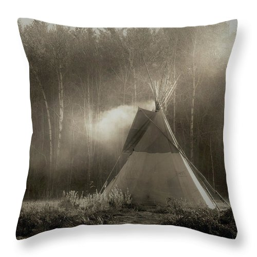 Teepee Throw Pillow featuring the photograph Teepee in the Light by Nancy Griswold