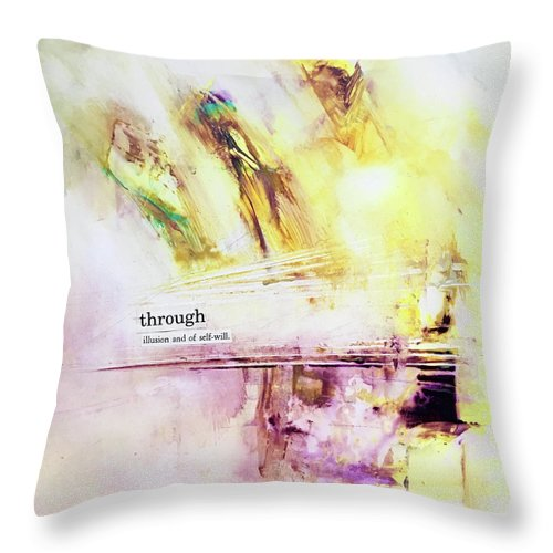 Abstract Art Throw Pillow featuring the painting Temple Mirage by Rodney Frederickson