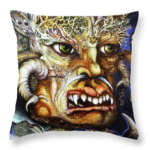 Surrealism Fantastic+realism Mythology Myth Beast Religion Throw Pillow featuring the painting The Beast Of Babylon II by Otto Rapp