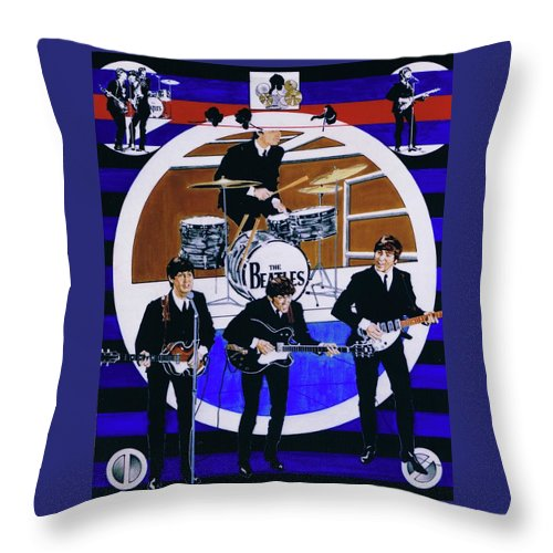 The Beatles Live Throw Pillow featuring the drawing The Beatles - Live On The Ed Sullivan Show by Sean Connolly