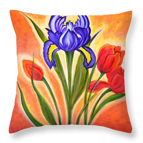Flowers Throw Pillow featuring the painting The Bloom by Manjiri Kanvinde