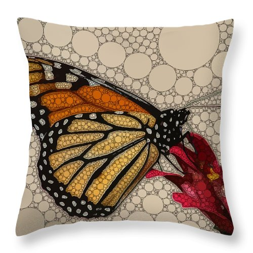 Brown Throw Pillow featuring the digital art The Circular Monarch by Dahl Winters