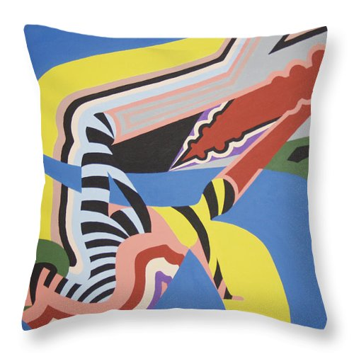 Colorful Throw Pillow featuring the painting The dog days of summer by Dean Stephens
