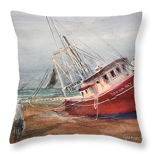 Donna Kay Throw Pillow featuring the painting The Donna Kay at Cape San Blas by Charles Rowland
