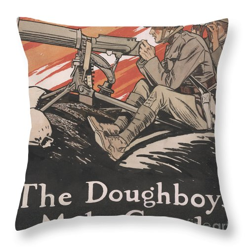 Doughboys Throw Pillow featuring the painting The Doughboys make Good, 1918 by Edward Penfield