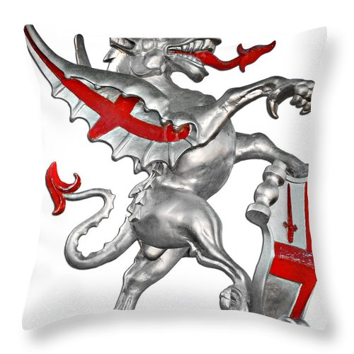 Dragon Throw Pillow featuring the photograph The Dragon Symbol of the City of London by Christine Till