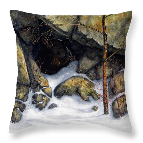 Wildlife Throw Pillow featuring the painting The Encounter Black Bear by Frank Wilson