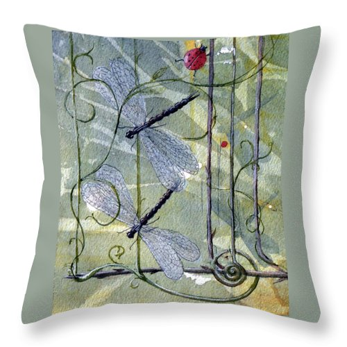 Fantasy Throw Pillow featuring the painting The End Of The Odyssey by Jackie Mueller-Jones