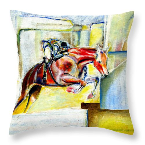 Horse Throw Pillow featuring the painting The Equestrian Horse and Rider by Tom Conway