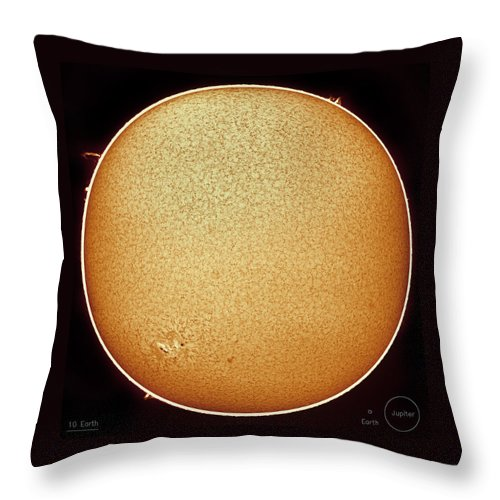 Sun Throw Pillow featuring the photograph The Fiery Sun by Prabhu Astrophotography
