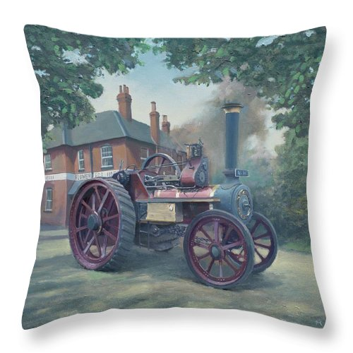 Flower Throw Pillow featuring the painting The Flower Pot Hotel by Richard Picton