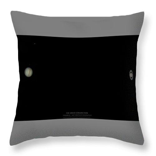 Throw Pillow featuring the photograph The Great Conjunction of Jupiter and Saturn by Prabhu Astrophotography