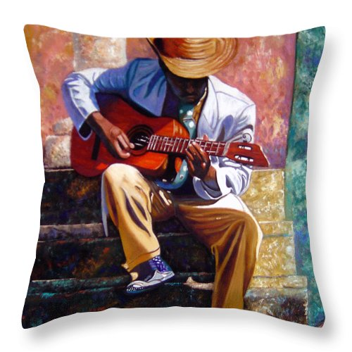 Cuban Art Throw Pillow featuring the painting The Guitar Player by Jose Manuel Abraham