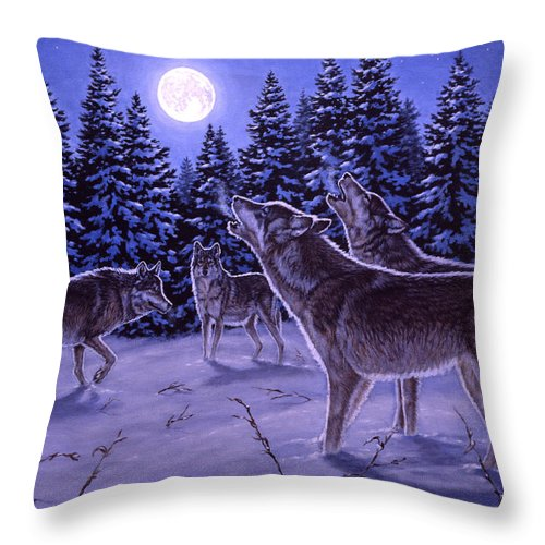 Wolf Throw Pillow featuring the painting The Howling by Richard De Wolfe